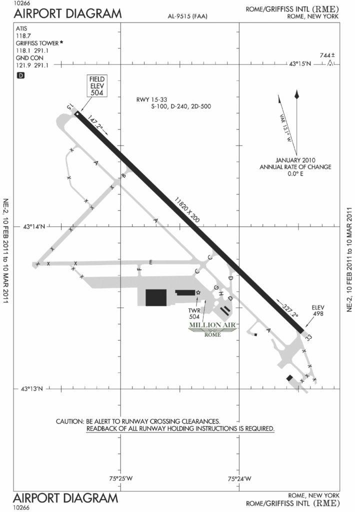 Airport diagram of Rome, New York