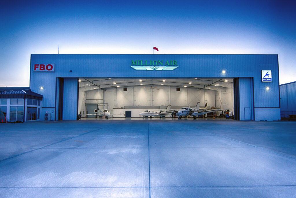 View of hangar with door open at Million Air Orlando.